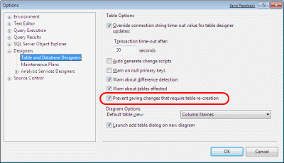 Prevent saving changes that require the table to be re-created